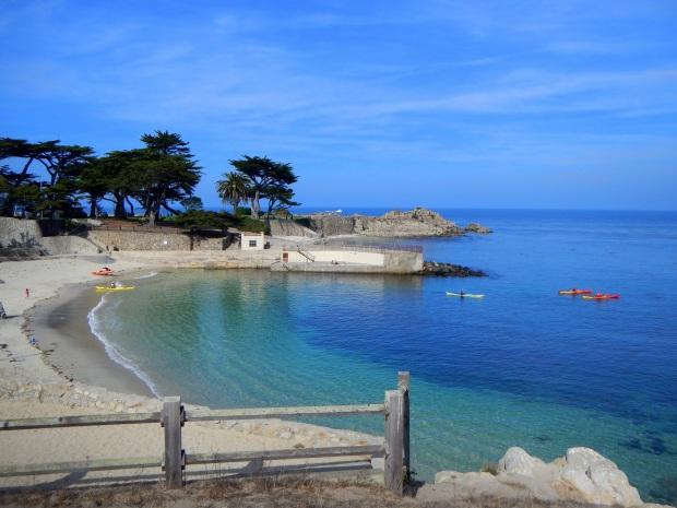 Kayaks launching at Lovers Point park, Monterey Bay, California