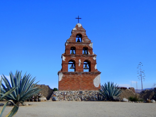 Brick companario with cement cast bells, dated from 1950s, Mission San Miguel Archangel, California