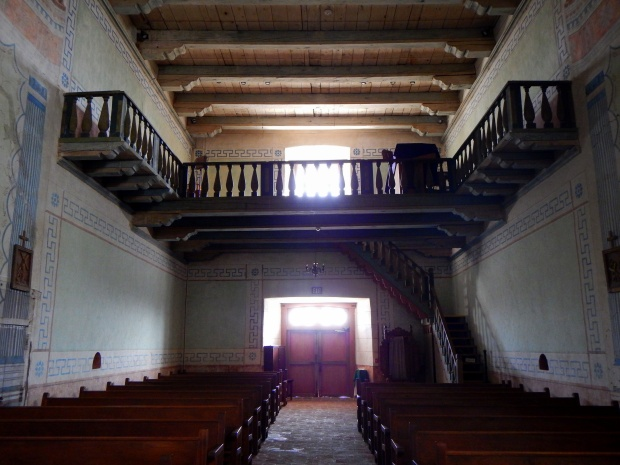 Nave looking to wooden balcony, Mission San Miguel Archangel, California
