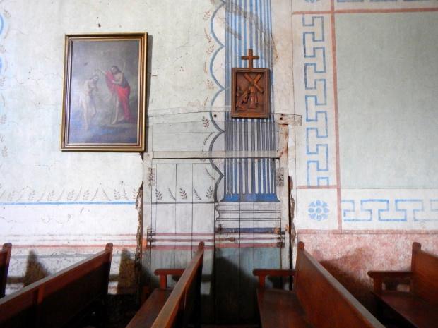 Murals painted over an original door, Mission San Miguel Archangel, California