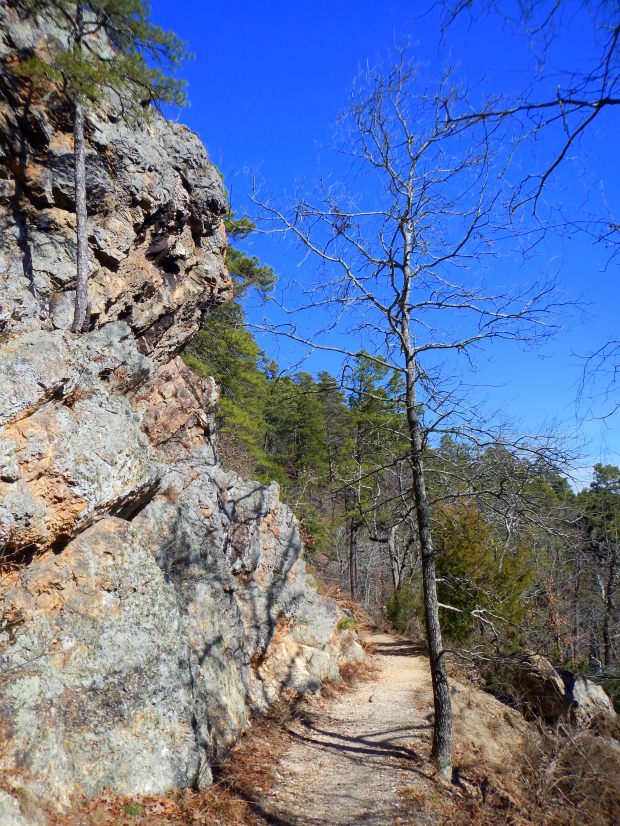 Trail on the return with novaculite boulders at left, Hot Springs National Park, Arkansas