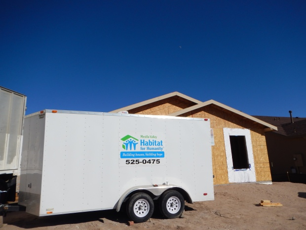 Tool trailer in front of the site, Habitat for Humanity Build, Las Cruces, New Mexico