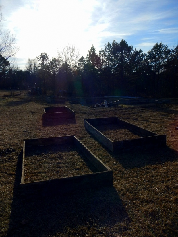 Raised beds we constructed out of repurposed scrap wood, Grundy County Community Garden, Tennessee