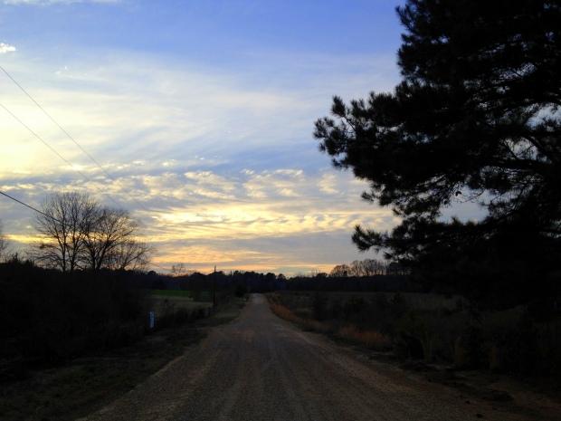 Sun beginning to set in front of Real Nature Environmental Farm, Jackson, Louisiana
