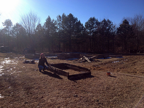 Me building raised beds, Grundy County Community Garden, White City, Tennessee