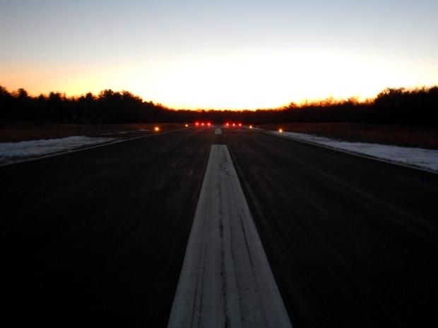 Sun setting over runway at Sewanee Airport, Sewanee, Tennessee