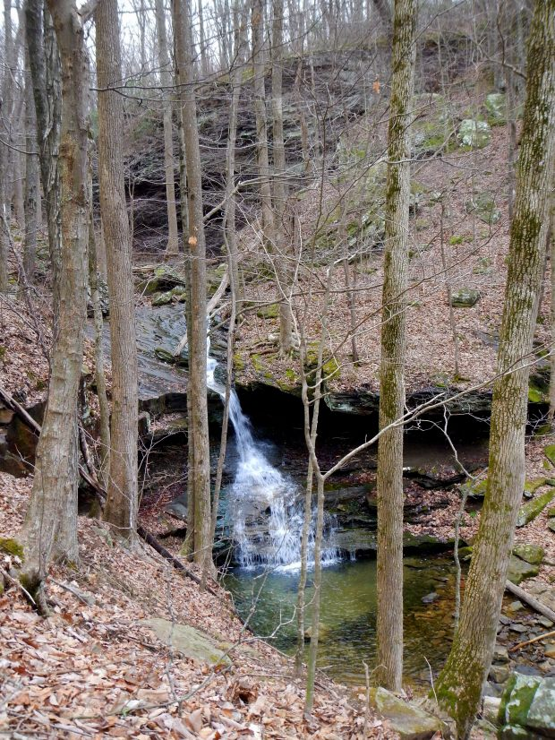 Small waterfall seen hiking down the plateau, Sewanee Domain, Tennessee