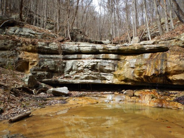 Dried up waterfall, Sewanee Domain, Tennessee