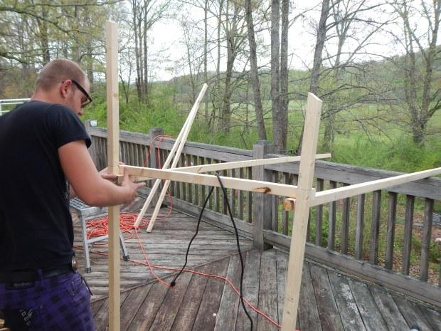 Daniel standing up the frame, Jasper, Tennessee
