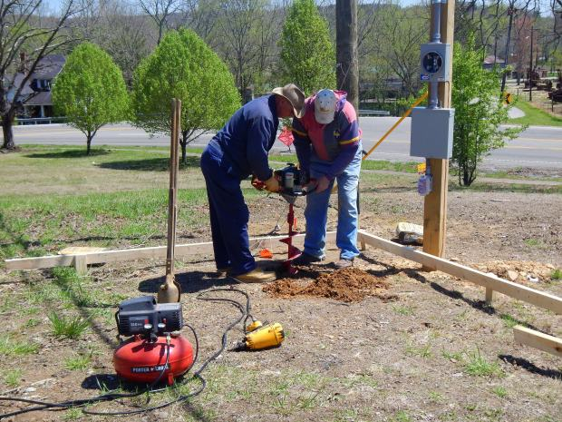 Augering post holes for pavilion for Tracy City Farmer's Market, Tracy City, Tennessee