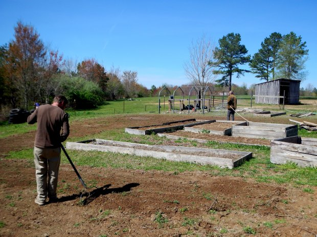 Jonathan raking at the Grundy County Community Garden, White City, Tennessee