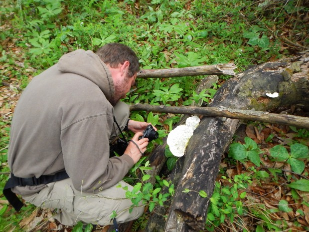 Jonathan photographing Weevil tracks, Bluebell Island, Tennessee