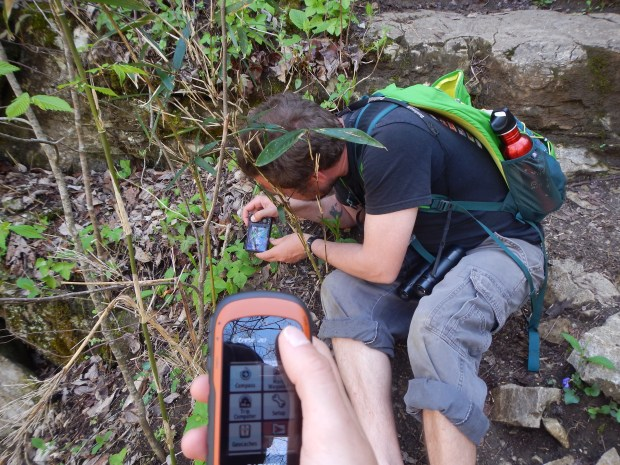 Jonathan photographing while I take a GPS waypoint, Buggy Top Trail, Tennessee