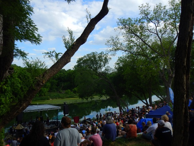 View of the Elevation Amphitheater in front of the Colorado River (Quilt onstage), Austin Psych Fest, Austin, Texas
