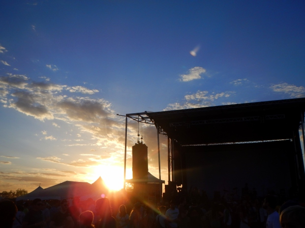 Sun setting on the Reverberation Stage before The Black Lips set, Austin Psych Fest, Austin, Texas