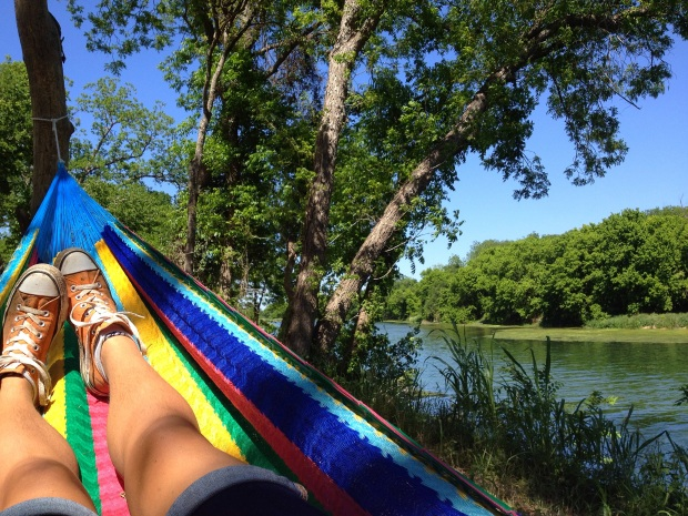 Chilling in a hammock by the river listening to Fantasmes play in the Elevation Amphiteather, Austin Psych Fest, Austin, Texas
