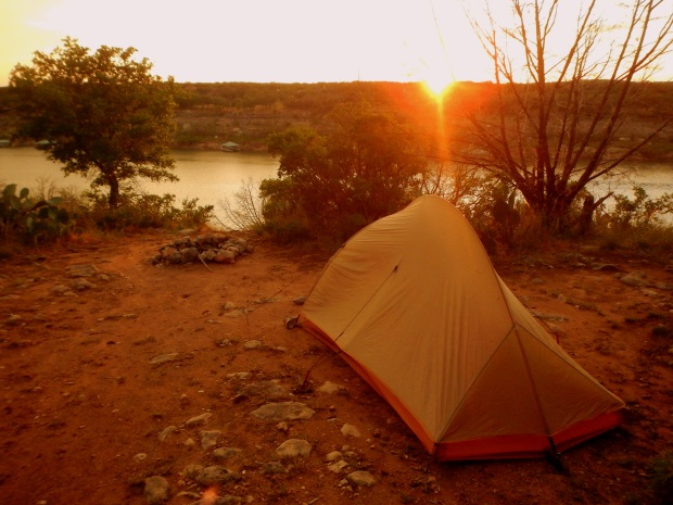 Sun setting over camp, Gracy Cove, Pace Bend State Park, Lake Travis, Texas