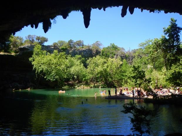 Walking in the grotto, Hamilton's Pool, Hamilton's Pool Preserve, Texas