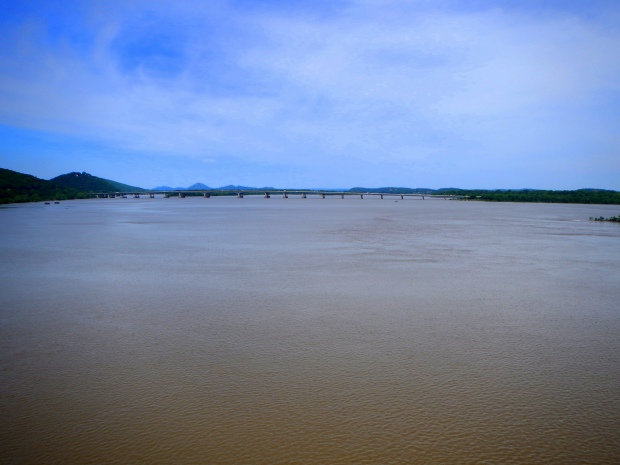 Arkansas River and I-430 seen from Big Dam Bridge, Little Rock, Arkansas