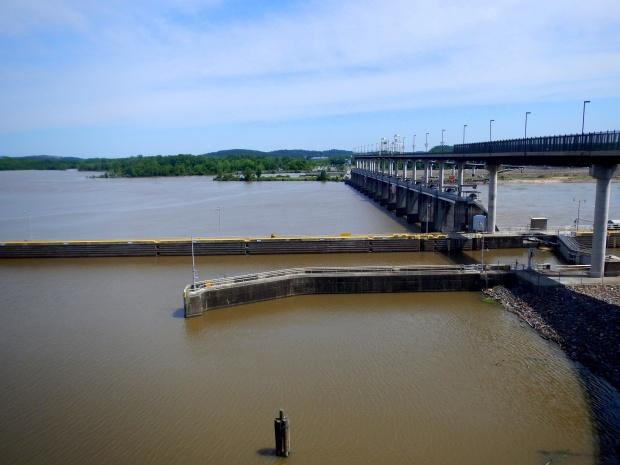 Bridge, dam, and locks from the Little Rock side, Big Dam Bridge, Little Rock, Arkansas