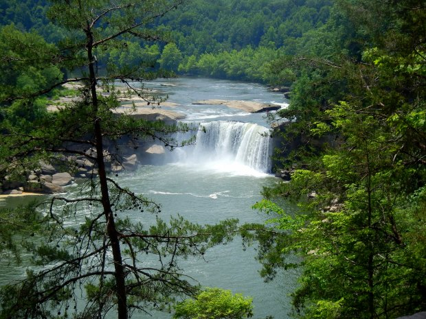 View of Cumberland Falls from the return loop of Eagle Falls Trail, Cumberland Falls State Park, Kentucky