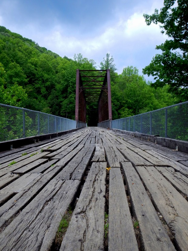 Closeup view of the planks, O&W Rail Bridge, Big South Fork Recreation Area, Tennessee