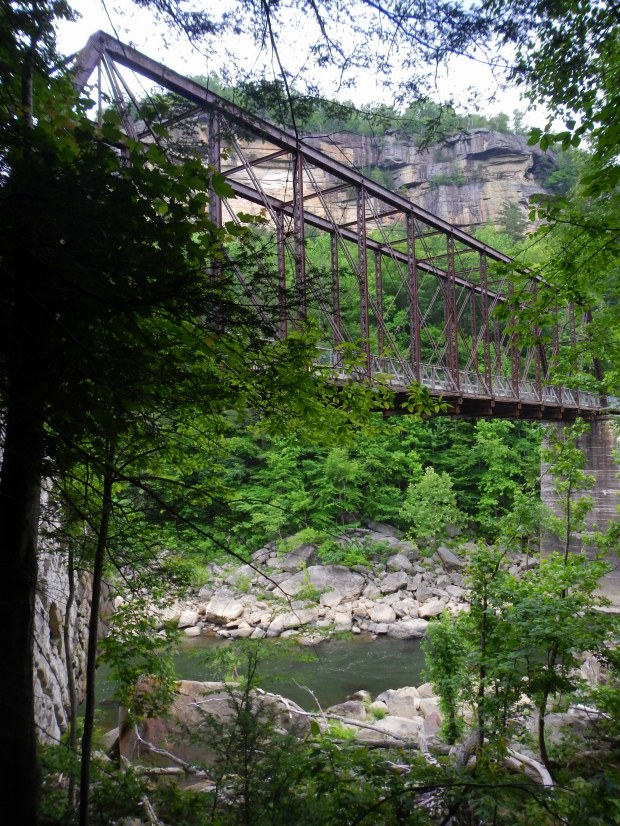 View of the O&W Rail Bridge from below with cliffs in background, Big South Fork Recreation Area, Tennessee