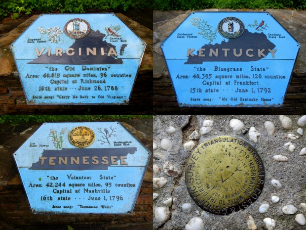 Virginia, Kentucky, Tennessee, and Tri-State Markers at Tri-State Peak, Cumberland Gap National Historical Park, Kentucky