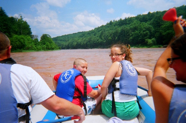 Gabe and McKenzie in bow, Delaware River, Pennsylvania/New York