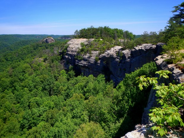 Views off the ridge with Courthouse Rock in background, Auxier Ridge Trail, Daniel Boone National Forest, Kentucky