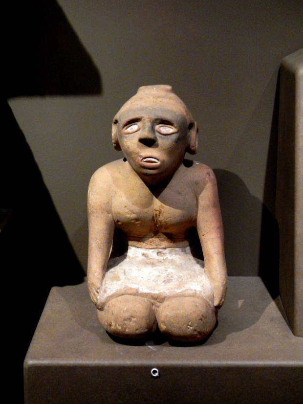 Kneeling sandstone statue, Mississippian Period, Museum of the Cherokee Indian, Cherokee, North Carolina