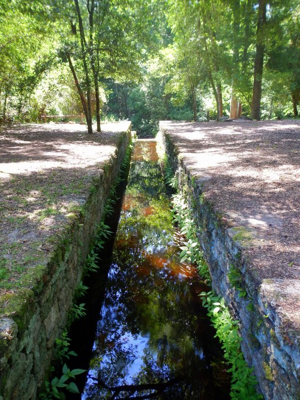 Sluiceway for pre-revolutionary grist mill, Poinsett State Park, South Carolina