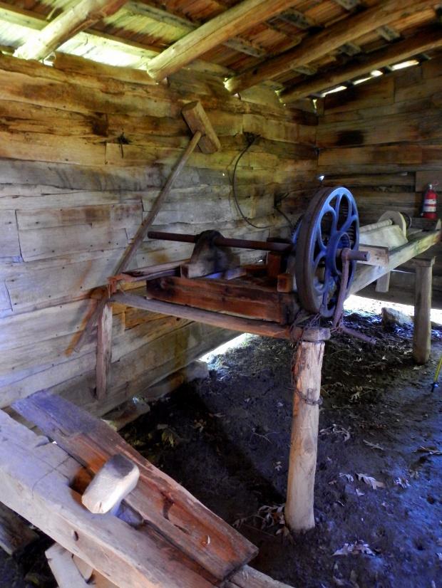 Wood lathe, Willie Gibbon's shophouse, Hensley Settlement, Cumberland Gap National Historical Park, Kentucky