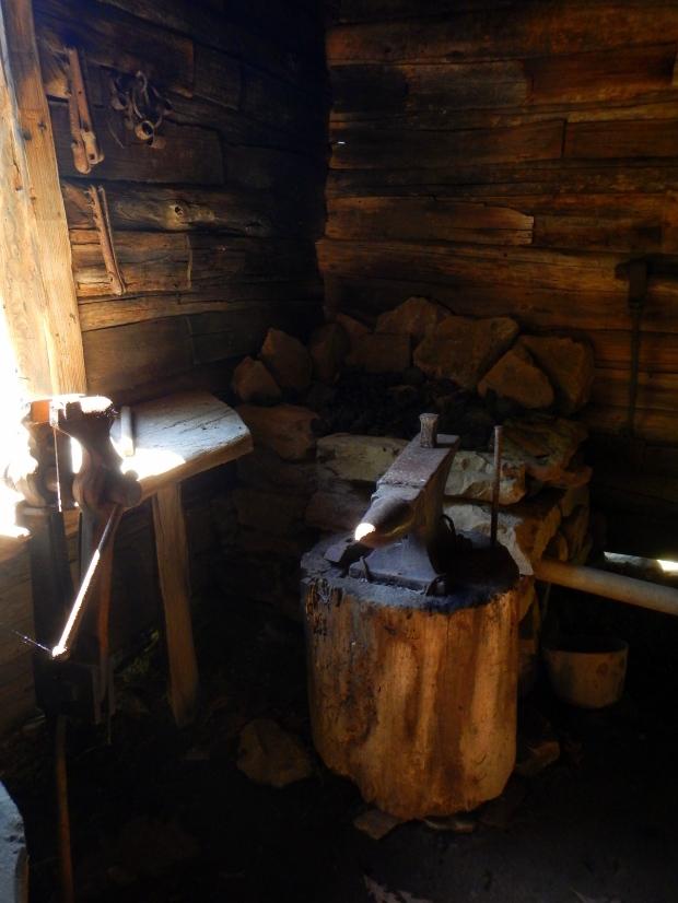 Blacksmithing area in Willie Gibbon's shophouse, Hensley Settlement, Cumberland Gap National Historical Park, Kentucky