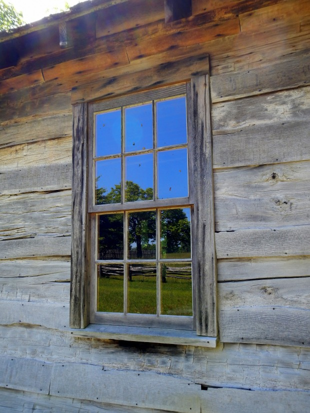 Reflection of the fields in the schoolhouse window, Hensley Settlement, Cumberland Gap National Historical Park, Kentucky