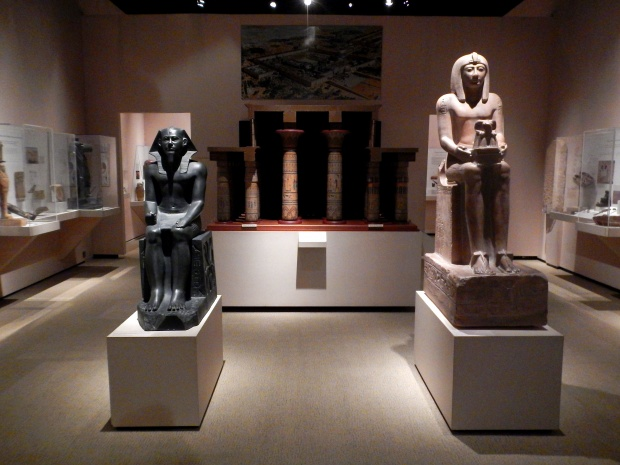 Plaster casts of Pharohs Khafre (left, original ca. 2625-2596B B.C. ) and Seti II (right, original ca. 1207-1202 B.C., both originals at the Metropolitan Museum of Art) in Egyptian gallery, McClung Museum, Knoxville, Tennessee