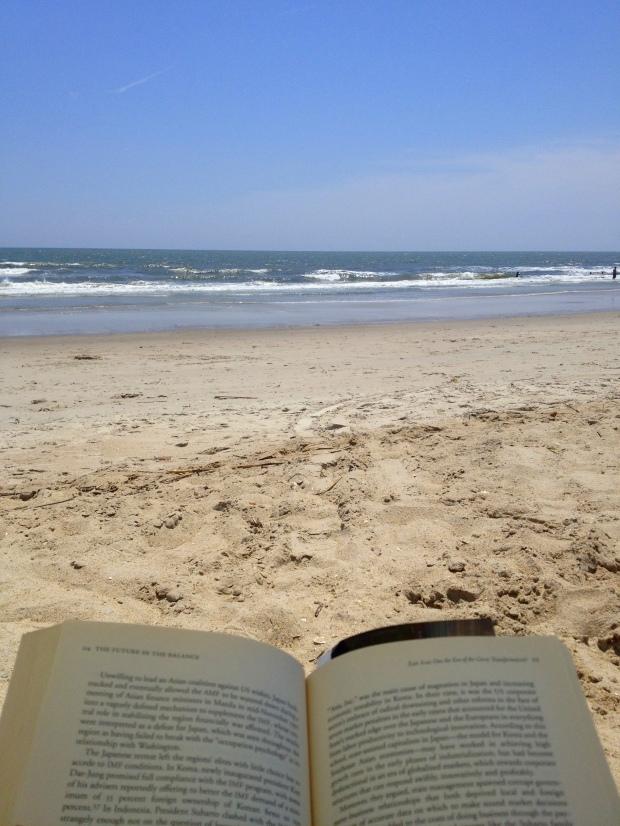 Me reading, Oak Island, North Carolina