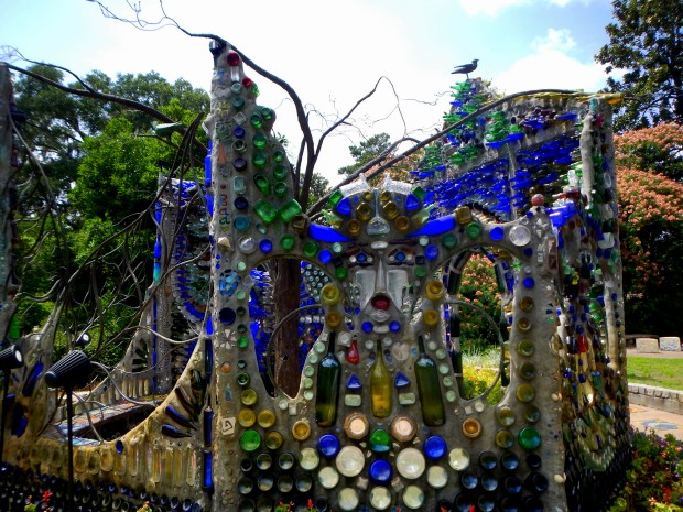 Bottle Chapel from side showing face, Minnie Evans Sculpture Garden, Airlie Gardens, Wilmington, North Carolina