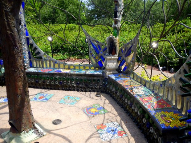 Mosaic benches and small shrine, Bottle Chapel, Minnie Evans Sculpture Garden, Airlie Gardens, Wilmington, North Carolina