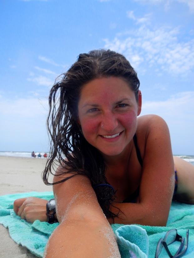 Relaxed Meghan on the beach, Oak Island, North Carolina