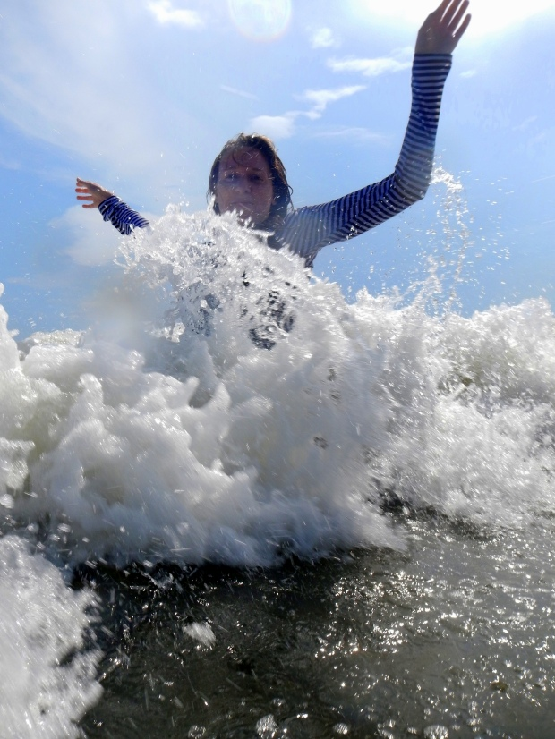 Chrissy wave jumping, Oak Island, North Carolina