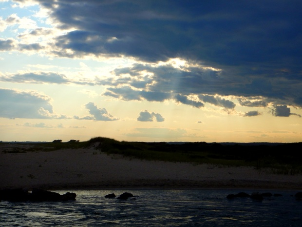 Sunlight breaking through the clouds, Breachway, Charlestown, Rhode Island