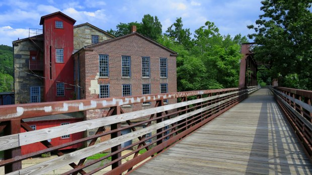 Converted rail bridge and mill buildings, Collinsville, Connecticut