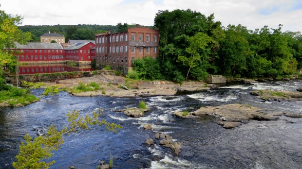 Collinsville Axe Company Mill with the dammed Farmington River in the foreground, Collinsville, Connecticut