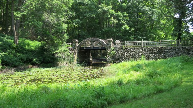 Footbridge over goldfish pond, Gillette Castle State Park, Connecticut