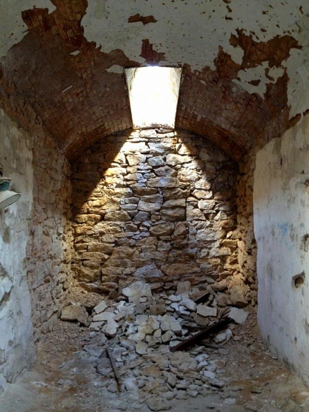 Rubble in cell, Eastern State Penitentiary, Philadelphia, Pennsylvania