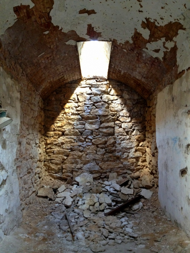 Rubble in cell, Eastern State Penitentiary, Philadelphia, Pennsylvania