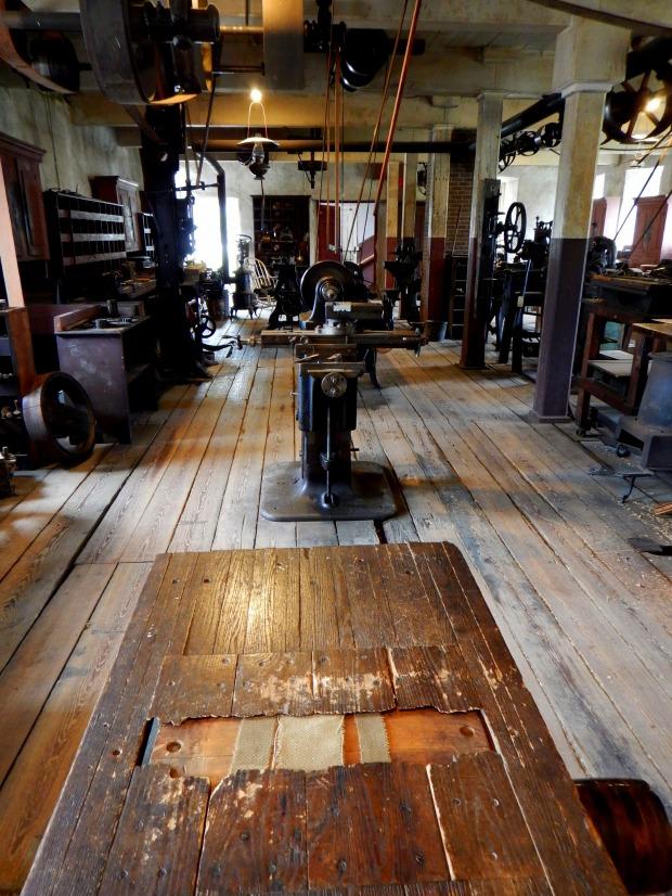 Looking towards metalworking shop, Wilkinson Mill, Slater Mill Historic Site, Pawtucket, Rhode Island