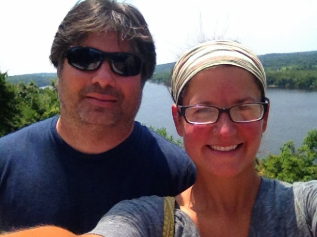 Alex and I with the Connecticut River in the background, Gillette Castle State Park, Connecticut