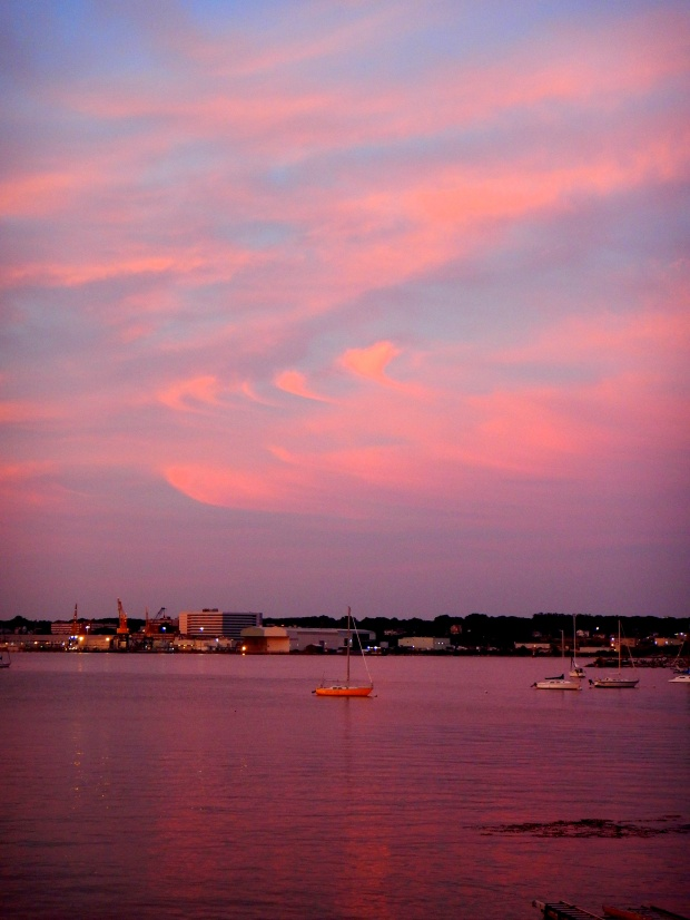 Pink and purple gauzy sunset, New London, Connecticut